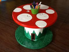 "Love this upcycled toadstool table from Teach me Mommy ("",)"