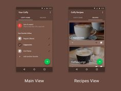 Collaboration with Guus Apeldoorn. UI design + icon for a smart coffee maker companion app. The first version of this concept can be found here. Home Recipes, Material Design, Coffee Maker, Concept, App, Tableware, Coffee Maker Machine, Coffee Percolator, Dinnerware