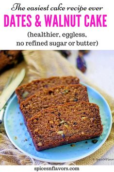 What if I say this is the easiest sugar free cake you will ever bake! Yes this eggless healthy Dates and Walnut Cake is one of those moist loaf cake recipes that has no refined sugar, no butter made Eggless Desserts, Eggless Recipes, Eggless Baking, Healthy Cake Recipes, Healthy Baking, Baking Recipes, Sweet Recipes, Recipe For Eggless Cake, Moist Date Cake Recipe