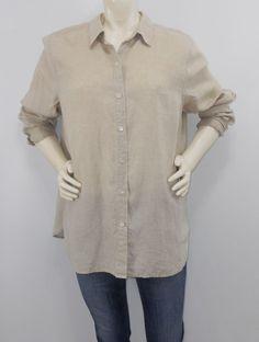6f6040d47 J Jill Large Linen Shirt Button Down Tan Long Sleeve J.Jill EUC #JJill