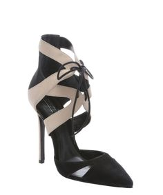 Schutz black oyster nubuck suede 'Charmosa' lace-up pumps