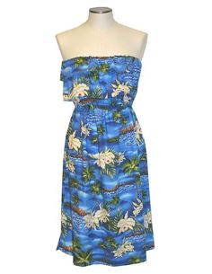 3ddb9c1464 Hawaiian Short Strapless Dress - Diamond Head Ruffle Overlay