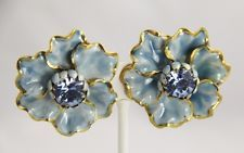 VINTAGE SANDOR Jewelry BLUE ENAMEL & RHINESTONE FLOWER POWER CLIP EARRINGS