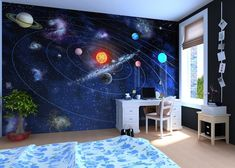 Cute Childs Room Designs With Blue Yellow Tones - Page 13 of 46 Teenage Room, Solar System, Blue Yellow, Baby Room, Kids Room, Bedroom Decor, Interior, House, Room Ideas