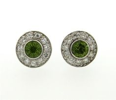 18K Gold Diamond Peridot Stud Earrings Featured in our upcoming auction on June 28!