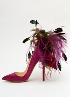 Whimsical Louboutin Ribbon and Feather stiletto.