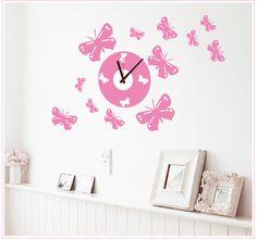 58x72 cm PVC cartoon klok roze boog meisje prinses stickers kinderkamer muurstickers decoratieve muurstickers klok(China (Mainland))