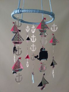Pink and Navy Girl Adorable Nautical Sailboat Sea Ocean Baby Mobile on Etsy, $75.00