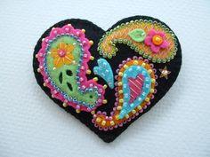 Beaded Felt  Heart - paisley 1