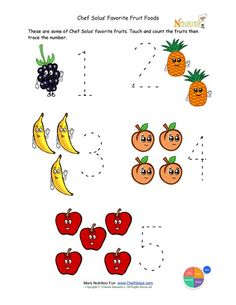 Preschool Writing Activity - Trace The Fruit Foods
