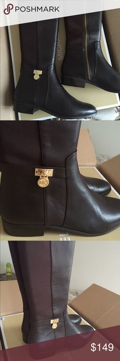 MK Boots! NWT! MK boots with logo charm and zipper. Gold hardware. Chocolate color. Michael Kors Shoes Winter & Rain Boots