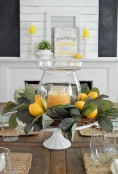 Simple summer decoration home tour Decoration idea: Do you need a centerpiece quickly?, Simple summer decoration home tour Decoration idea: Do you need a centerpiece quickly? Use a cake plate, like this vintage frosted glass base that I t. Summer Decoration, Decoration Table, Summer House Decor, Summer Mantle Decor, Summer Table Decorations, Farm Table Decor, Christmas Decorations, Spring Home Decor, Farmhouse Side Table