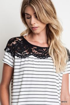 Black and White Striped Lace Tee Lace Tee, Lace Shorts, Blouses For Women, T Shirts For Women, Classy And Fabulous, Striped Tee, Spring Summer Fashion, What To Wear, Cool Outfits
