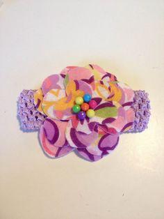 Infant Toddler Girls Purple Flower Crochet Headband Headpiece Hairbow Hair Accessories on Etsy, $7.00