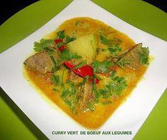 recette CURRY VERT DE BOEUF AUX LEGUMES