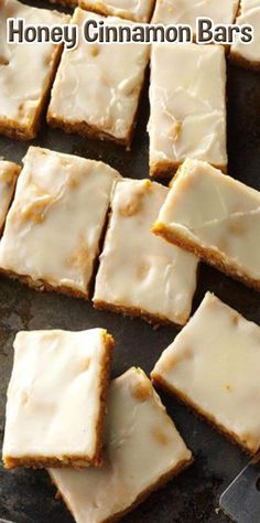 Honey Cinnamon Bars - Feast of St Abigail Honey Dessert, Dessert Bars, Easy Desserts, Delicious Desserts, Yummy Food, Cookie Recipes, Dessert Recipes, Bar Recipes, Honey Recipes