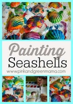 Summer Beach Craft for Kids: Painting Seashells with Children | Pink and Green Mama
