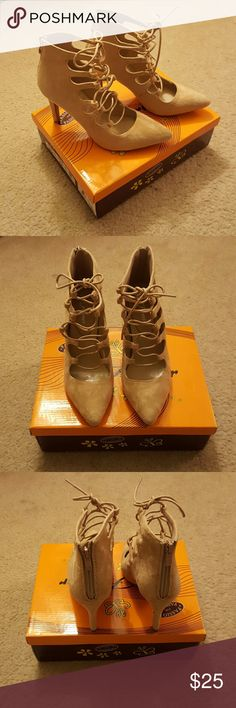 Lace-up Beige Suede Pumps Never been worn! Cute & comfortable Forever Shoes Heels