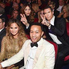 Star Tracks: Thursday, December 3, 2015 | PHOTOG HOG  | Wednesday in Las Vegas at the Sinatra 100: An All-Star Grammy Concert (airing Dec. 6 on CBS), Adam Levine photobombs John Legend and Chrissy Teigen with the help of wife Behati Prinsloo and pal Katharine McPhee.