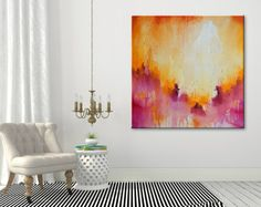 Pink Abstract painting Contemporary Wall Art Abstract with