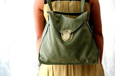 Green women Backpack Distressed women leather Backpack by PolaV