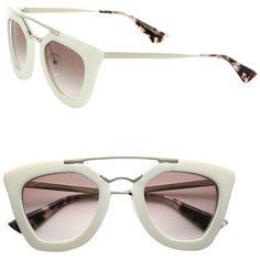 518ee4e7784 Pre-owned Prada Cat Eye Double-bridge Sunglasses Ivory light Brown.