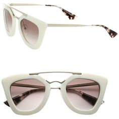 Pre-owned Prada Cat Eye Double-bridge Sunglasses Ivory/light Brown... ($370) ❤ liked on Polyvore featuring accessories, eyewear, sunglasses, thick lens glasses, cat eye sunglasses, cat eye glasses, prada sunglasses and cateye sunglasses