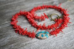 Red Coral Necklace Mothers Day JewelryCoral Short by LOVEnLAVISH, $29.00