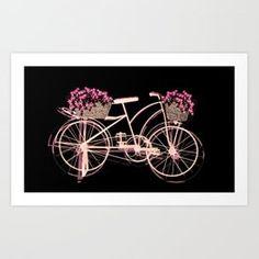 A bike with Flowers Art Print