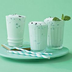 We jazzed up our Mint-Chocolate Chip Shake with a few drops of green coloring for a faint tint of color.