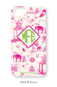 Nico and Lala #toile #iPhone case in #pink and #green. This classic design is also available in four other color combinations I Shop now at Nico and Lala