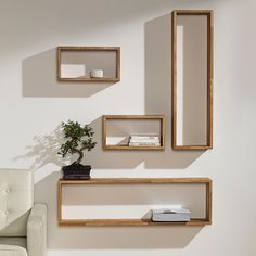 Wandregale Eiche-Quader, Set – mit 3 Jahren Garantie Wall shelves Oak cubes, set of 4 – with 3 years warranty Wall Shelves, Shelving, Wall Racks, Floating Nightstand, Floating Shelves, Regal Bad, Big Living Rooms, Home Ceiling, Cool Walls