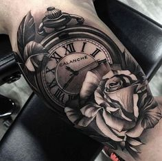My tattoo ideas Bicep Tattoo Men, Inner Bicep Tattoo, Forarm Tattoos, Leg Tattoos, Body Art Tattoos, Pocket Watch Tattoo Design, Pocket Watch Tattoos, Clock Tattoo Design, Clock And Rose Tattoo