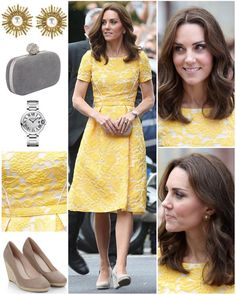 Opting for another colour from the German flag, Kate wore a sunny yellow, brocade Jenny Packham dress for today's initial two engagements. The dress is bespoke, and features jacquard fabric on a fit-and-flare silhouette. Kate wore some new Oscar de la Renta earrings; these are their 'Pearly Sun Star Pierced Earrings'.