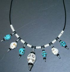 925 Sterling silver White & Turquoise Skeleton  by dsmenagerie