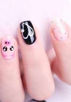 These Nail designs have clean, classy, minimalist style that you absolutely adore. These desaturated palettes are to deserve for. Pig Nail Art, Pig Nails, Nail Art Designs Videos, Nail Art Videos, Summer Acrylic Nails, Best Acrylic Nails, Nail Art Hacks, Nail Art Diy, Rose Nail Art
