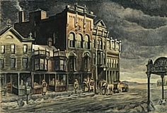 "Charles Burchfield (1893-1967) - Edge of Town (1921-1941); Watercolor with gouache over graphite on paper, 26-15/16"" x 39-13/16""; The Nelson-Atkins Museum of Art, Kansas City"