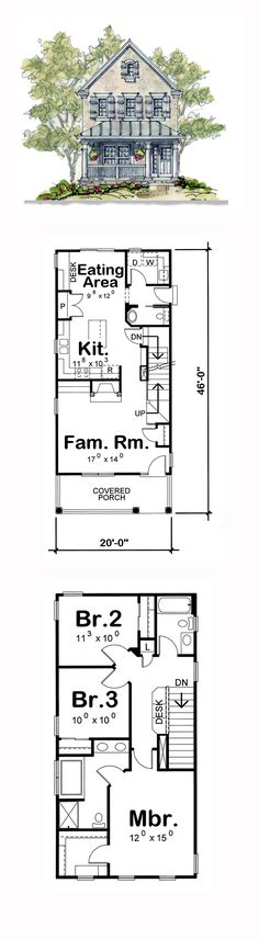 House Plan 66630 - Country, European Style House Plan with 1575 Sq Ft, 3 Bed, 3 Bath Narrow Lot House Plans, European House Plans, Small House Plans, House Floor Plans, Br House, Sims House, Story House, The Plan, How To Plan
