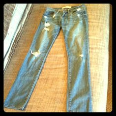 """Abercrombie & Fitch light distressed jeans 2 long Abercrombie & Fitch light denim distressed jeans size 2 long. Amazing condition. """"Erin"""" style. Abercrombie & Fitch Jeans"""