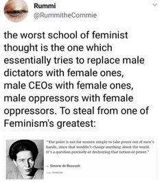"""""""The point is not for women to take power out of men's hands, since that wouldn't change anything. It's a question of DESTROYING that notion of power."""" Reversing the order (female > male) would not achieve anything; just oppressive cycle after cycle. Power Out, Intersectional Feminism, Patriarchy, Faith In Humanity, Social Issues, Social Justice, In This World, Equality, Things To Think About"""