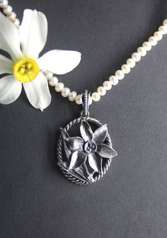 Silver, Jewelry, Fashion, Accessories, Daffodils, String Of Pearls, Dirndl, Neck Chain, Handarbeit