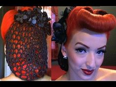 Vintage Retro Pinup Hair Snood with Faux Bangs
