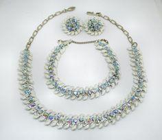 Lovely Blue AB Rhinestone and White Enamel by VintageClothesNJunk