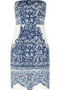 J.Crew|Ella strapless printed cotton-blend piqué dress|NET-A-PORTER.COM