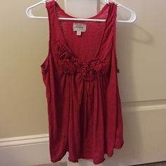 Anthropologie Deletta Romantic Roses Tank (Rare) Gathered roses adorn the front of this lightly frayed-edged cotton tank with casually pleated flowy front :) Fits more like a medium. Anthropologie Tops Tank Tops