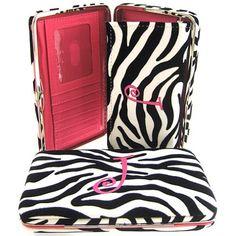 "Hot Pink Initial "" J "" Zebra Print Soft Velvet Stripes Thick 1"" Flat Wallet ** Read more  at the image link."