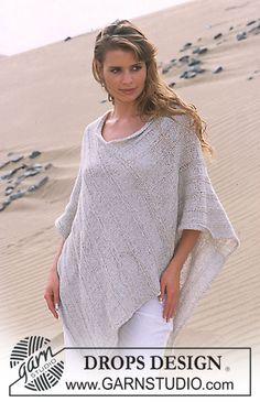 Poncho Drops em Silke-Tweed e Glitter Modelo gratuito de DROPS Design.