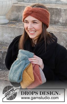 Winter Smiles Headband / DROPS 214-68 - Gratis strikkeoppskrifter fra DROPS Design Bandeau Torsadé, Headband Bandeau, Knit Headband Pattern, Knitted Headband, Knitted Hats, Knitting Patterns Free, Free Knitting, Knitting Socks, Knitting Daily