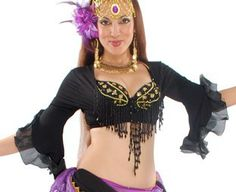 MID-SLEEVE SPANISH RUFFLE CHOLI (BLACK - GYPSY SUGAR COLLECTION) - Item #5060 on www.bellydance.com