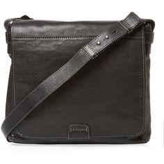 Frye Chris Leather Messenger Bag - Black ($285) ❤ liked on Polyvore featuring men's fashion, men's bags, men's messenger bags, black and mens leather messenger bag